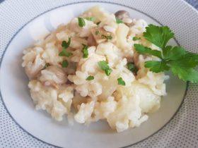 Receita de risoto de frango com cogumelos